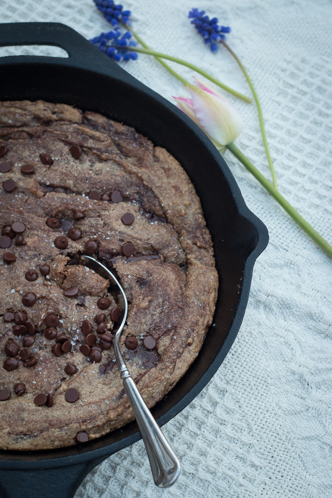 Suggested gluten-free skillet chocolate chip cookie to eat while watching a documentary this weekend!