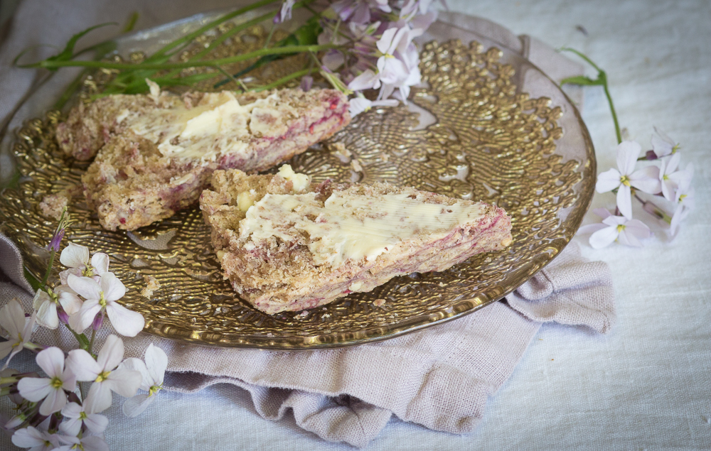 Raspberry Flax Scones with Butter | Linden & Lavender