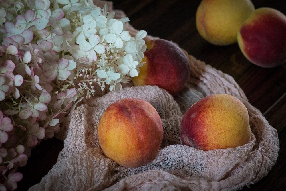 peaches and hydrangeas