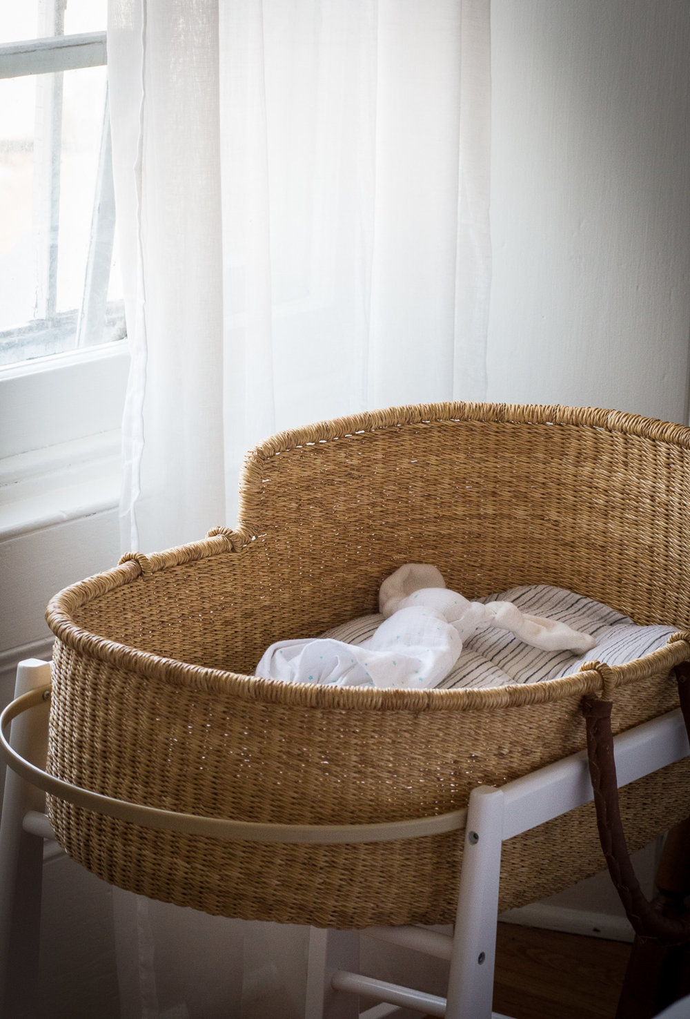 Moses Basket by the window | Linden & Lavender