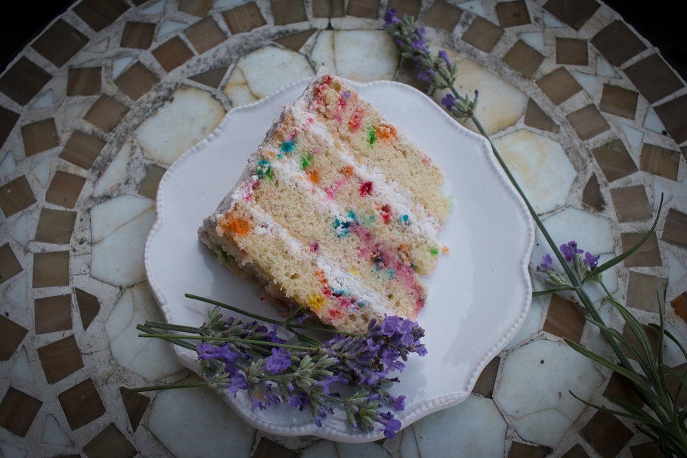 funfetti cake with strawberry buttercream