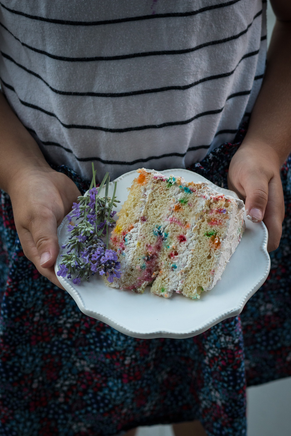 slice of funfetti cake
