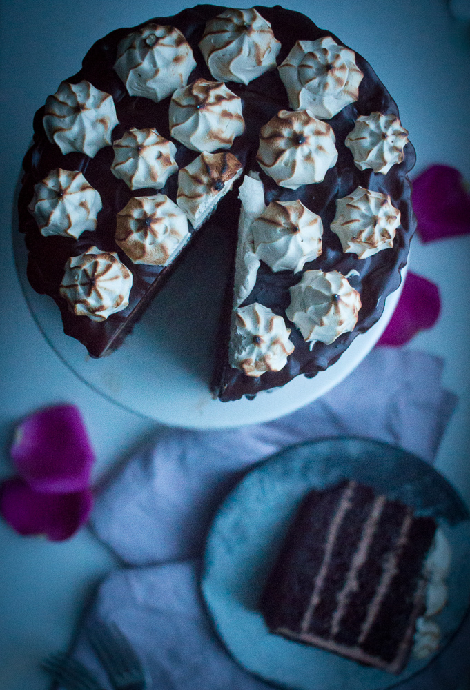 Chocolate Cake with Meringue Brulée