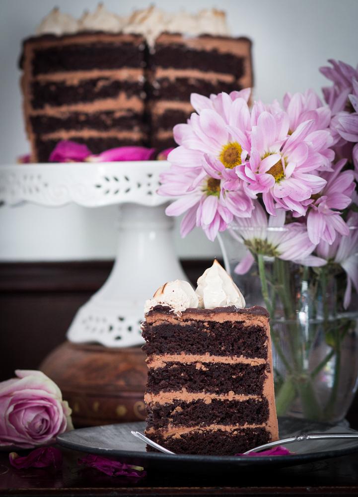 Chocolate Cake with Meringue Brulée | Linden & Lavender