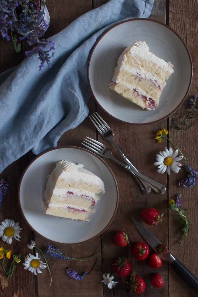 Strawberry Filled Cake with Whipped Mascarpone Icing