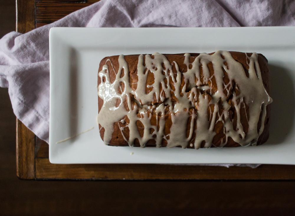 Pumpkin Loaf with Vanilla Glaze
