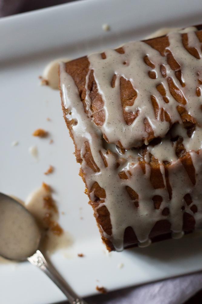 Pumpkin Loaf with Vanilla Glaze | Linden & Lavender