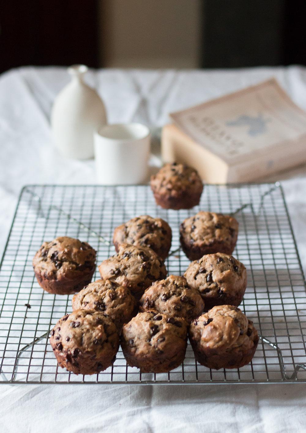 Banana Spelt Flour Chocolate Chip Muffins | Linden & Lavender