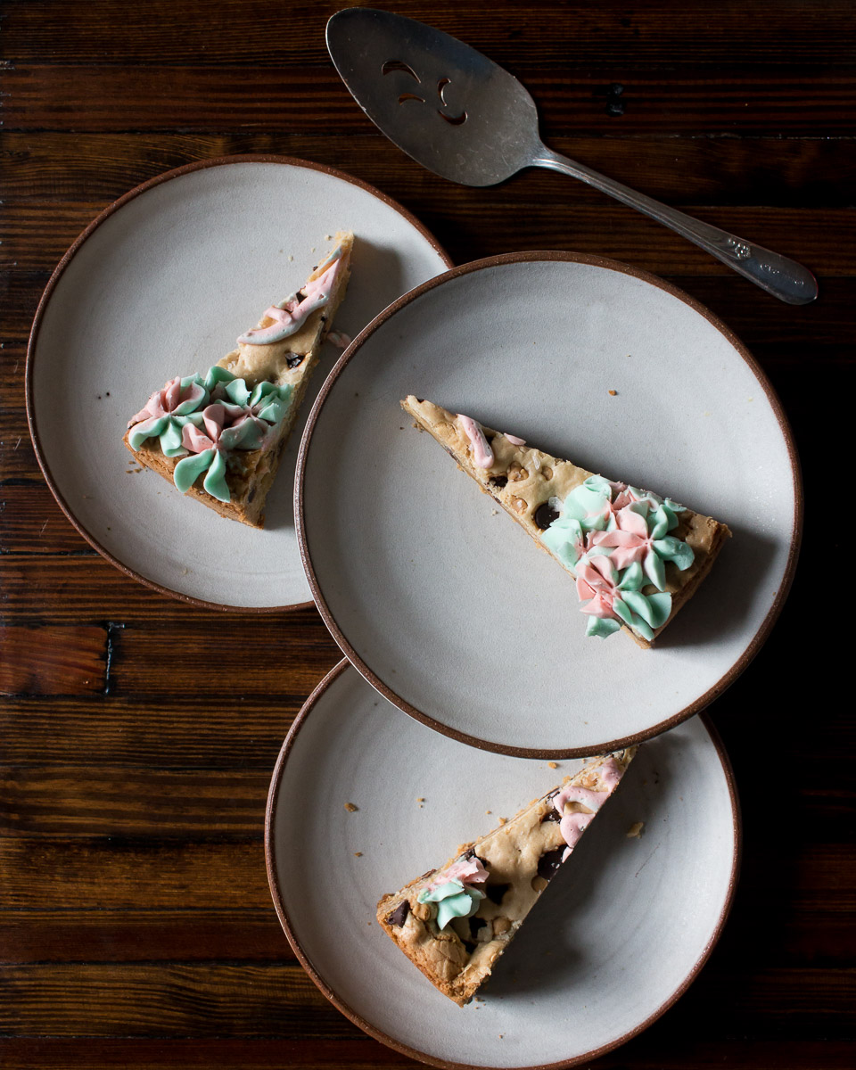 Chocolate Chip Cookie with Pink and Blue Buttercream Frosting