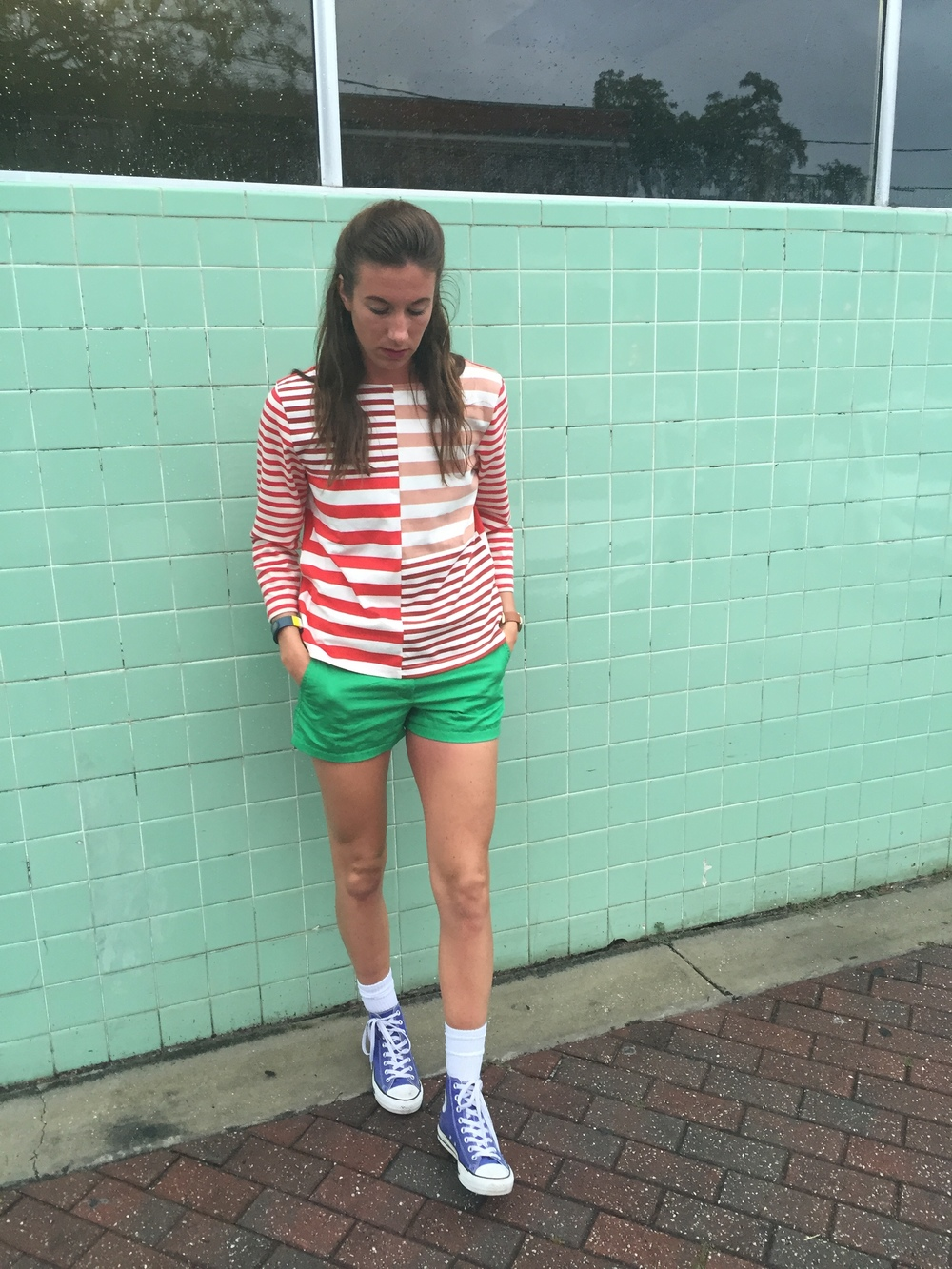 Shoes: Converse Shorts: J.Crew Factory, same style,but different colors  here . Top: J.Crew, found  here .