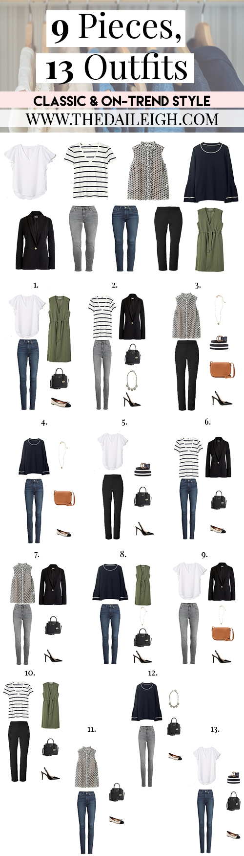 9 Piece, 13 Outfits Classic On-Trend Style