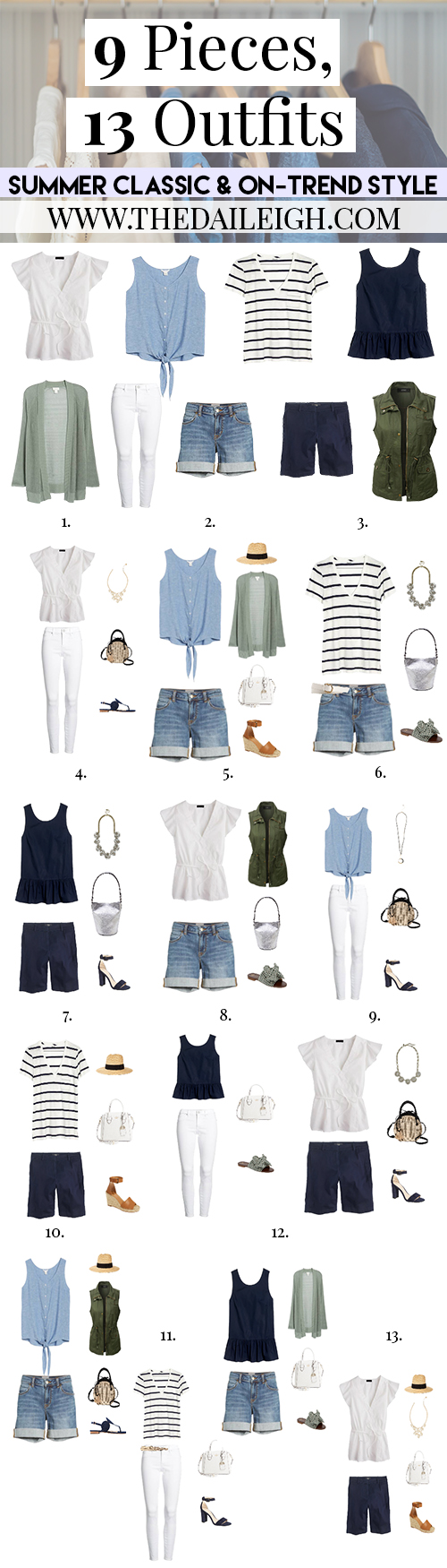 9 Pieces, 13 Outfits - Summer Classic And On-Trend Style