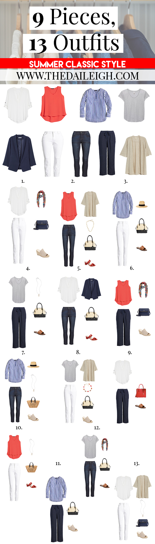 9 Pieces, 13 Outfits - Summer Classic Style
