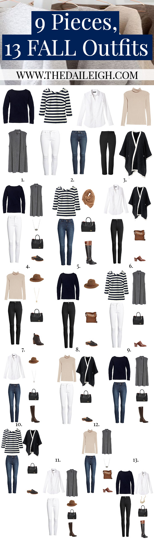 9 Pieces, 13 Classic Fall Outfits