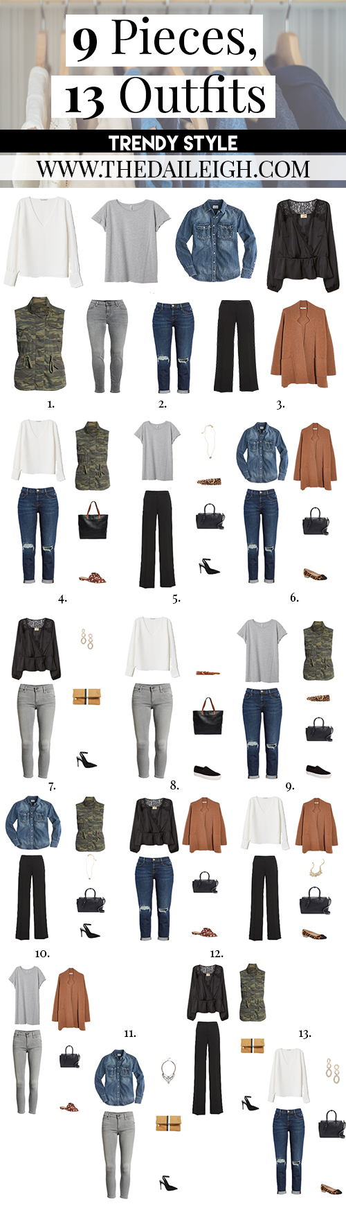 9 Pieces, 13 Trendy Outfits
