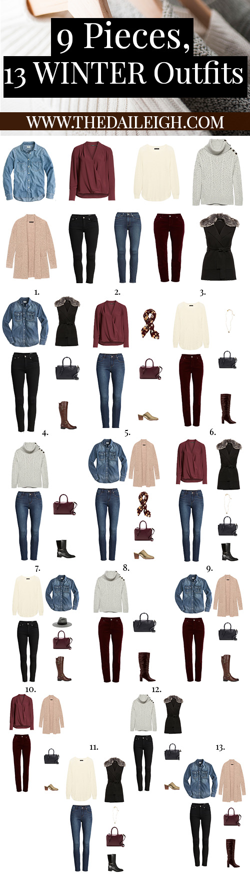 9 Pieces, 13 Winter Outfits