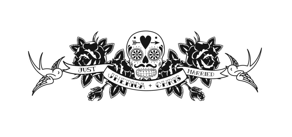 Banner Bird Flower Skull Just Married.jpg