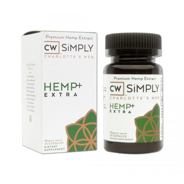 Charlotte's Web Hemp Capsules   CW SiMPLY capsules are proudly produced in Colorado by combining Charlotte's Web extract oil with MCT fractionated coconut oil and plant-derived starches and cellulose, which are then all wrapped up in a vegetarian capsule.  Each capsule contains 35 Mg of Hemp Extract