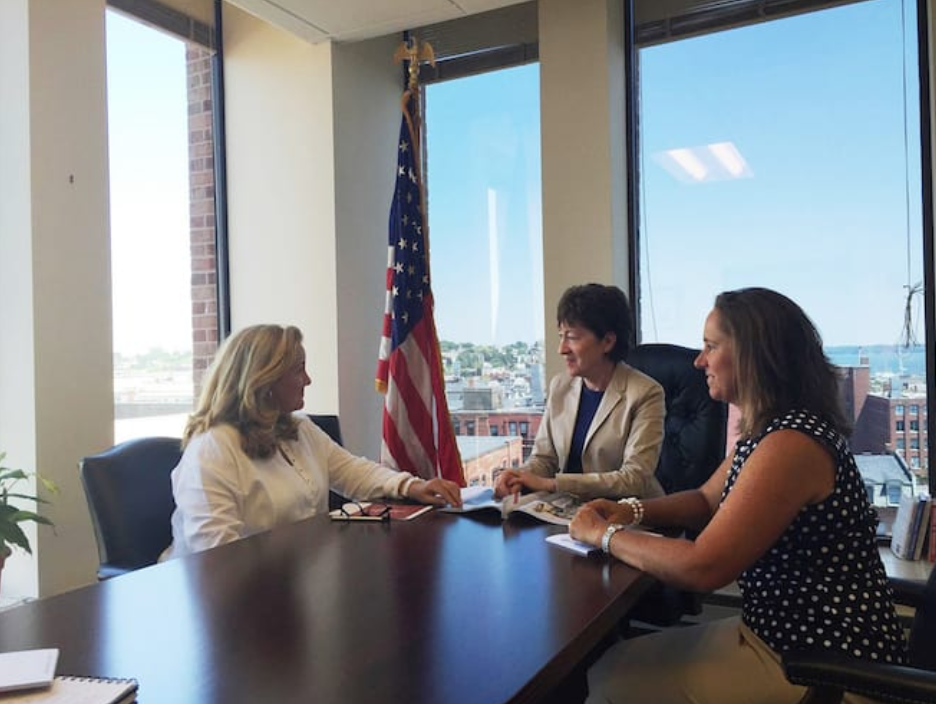 - Walsh meets withU.S. Senator Susan Collins to discuss the MaineWorks mission with her MaineWorks colleagueKelly Murphy Luce in July.Image courtesy of Margo Walsh
