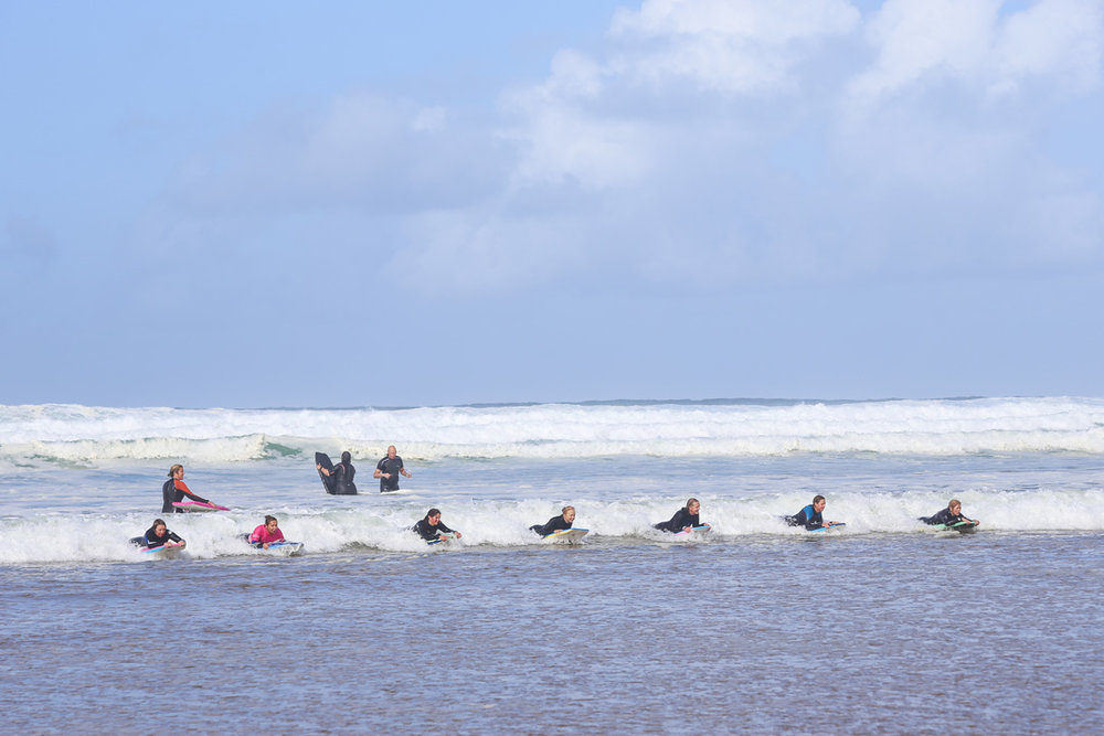 Body boarding on Watergate Bay
