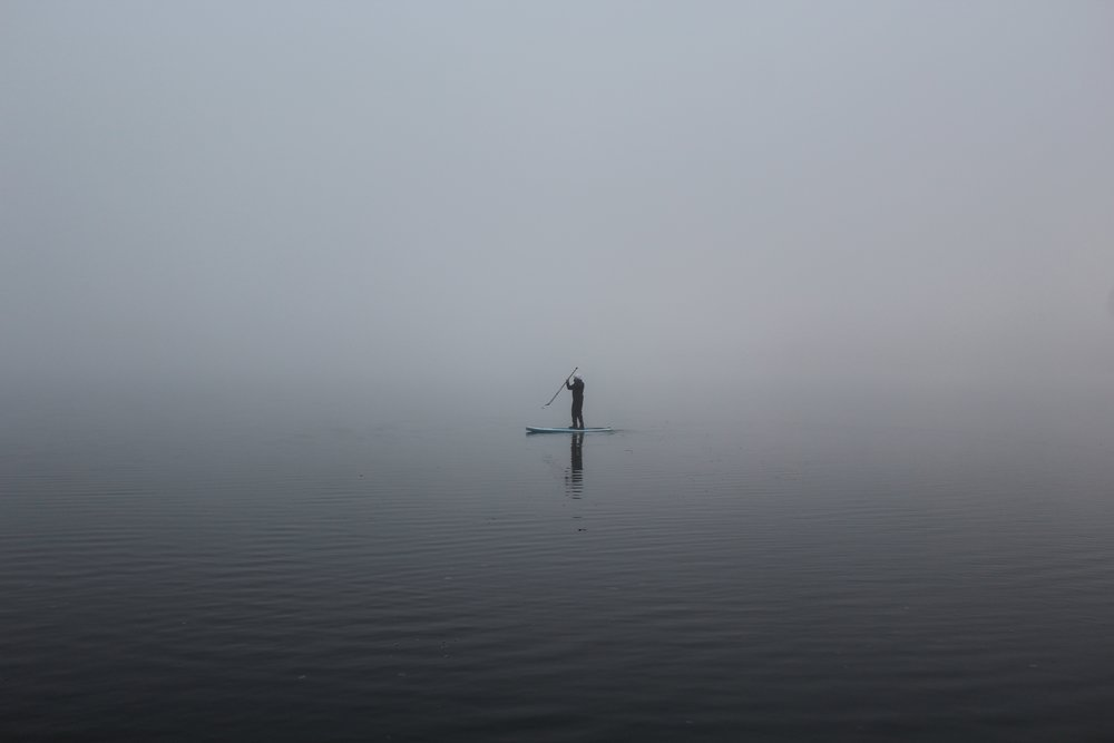 Paddling in dense fog on Windermere
