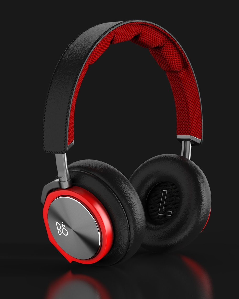 Product photograph of Beoplay headsets on black