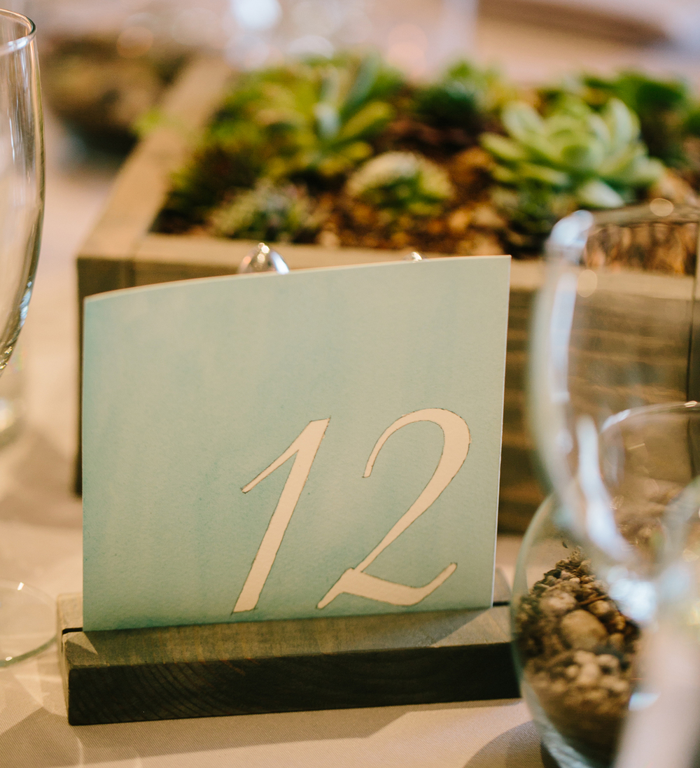Watercolored Table Numbers