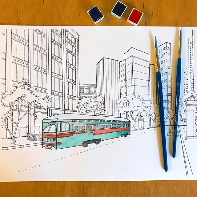 This is a sketch I revisited with new colors because who doesn't love teal and orange? There are lots of these street cars in San Francisco in all different colors. Just last week I saw this color combination and decided it was worth watercoloring again with this new palette. Let me know what you think!