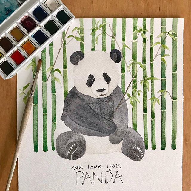 I've been completely MIA lately because first I came down with a persistent cough that is still plaguing me and then traveled to Cabo with my girlfriends.  One such girlfriend moved to Los Angeles recently and this is a goodbye present for her (since she loves Pandas and her name is Amanda). After painting this, I love pandas even more!