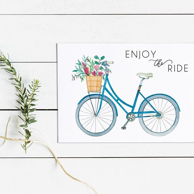 New prints and cards available in my Etsy shop, see link in my bio. Because who wouldn't enjoy a nice bike ride?  Inspired by Public Bikes (locally designed here in San Francisco) and my favorite Farm Girl Flowers bouquet 💐🚲