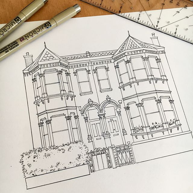 Custom sketch of a row house in London! It was so serendipitous that someone who used to live in London (a city I love) and now lives in San Francisco found me on Etsy. I have sketched both cities many times and happy to do more- just ask me!