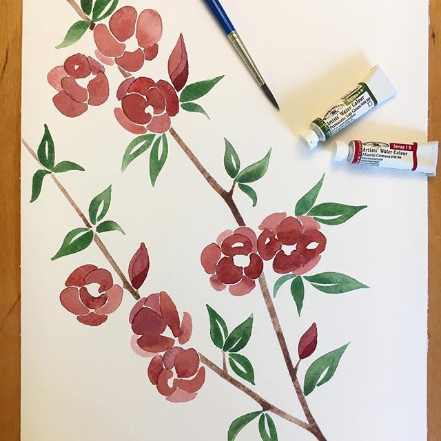 Painting some Quince flowers. I'm trying to train myself to be a little looser with my florals 🌺 so far so good!