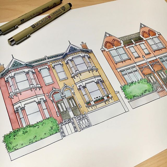 Just finished and shipped off this commissioned London Row Houses print. One project done, lots more to do!  This month has been crazy in terms of projects. Never before have I gotten so many custom requests! But it's a wonderful thing because it means people like my art but a scary thing because it means I better be serious (and good enough)!