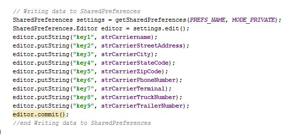 The editor.commit writes the values with putString into the Shared Preferencces