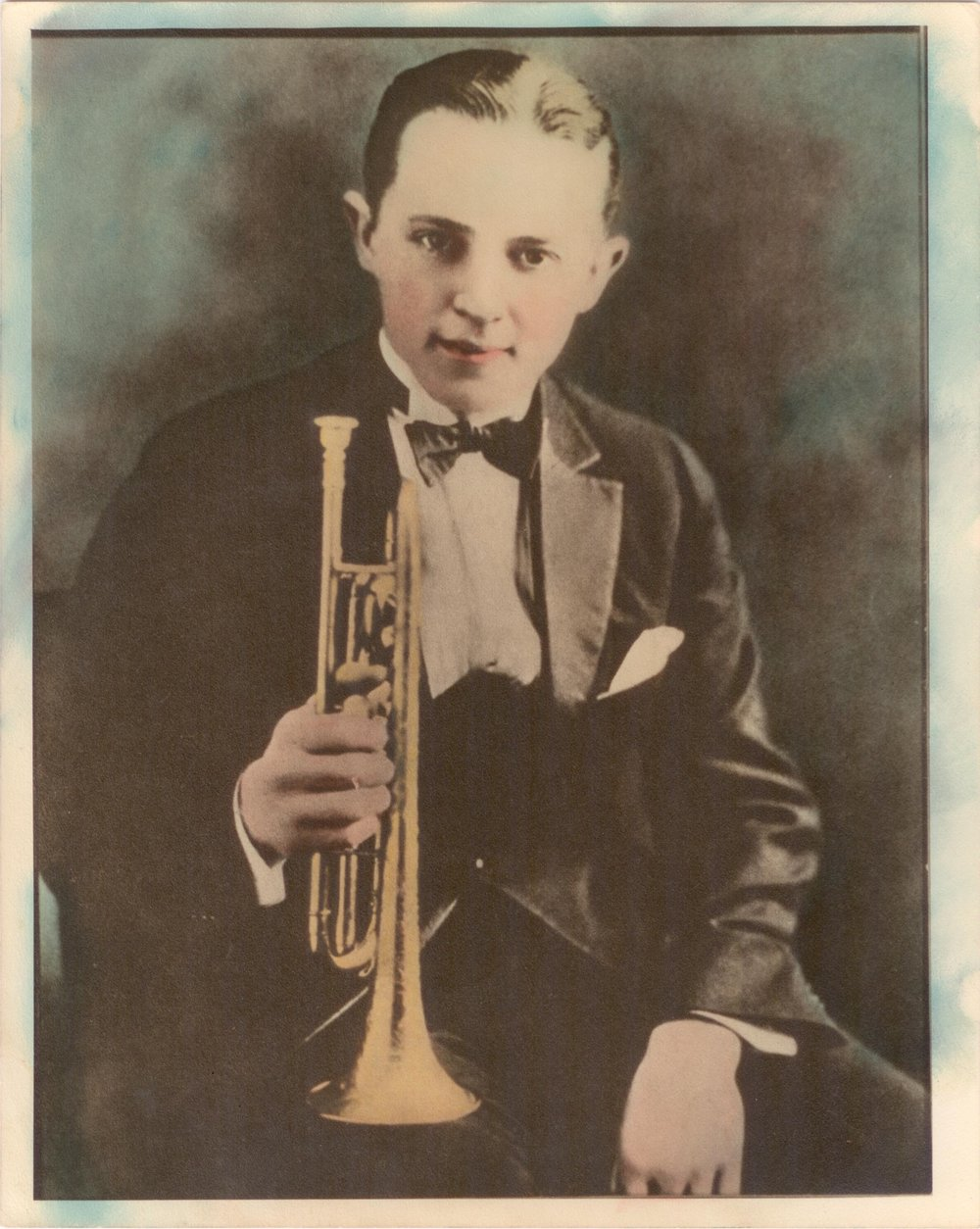 A colorized photo of Bix Beiderbecke, 1924. Courtesy of Indiana University.