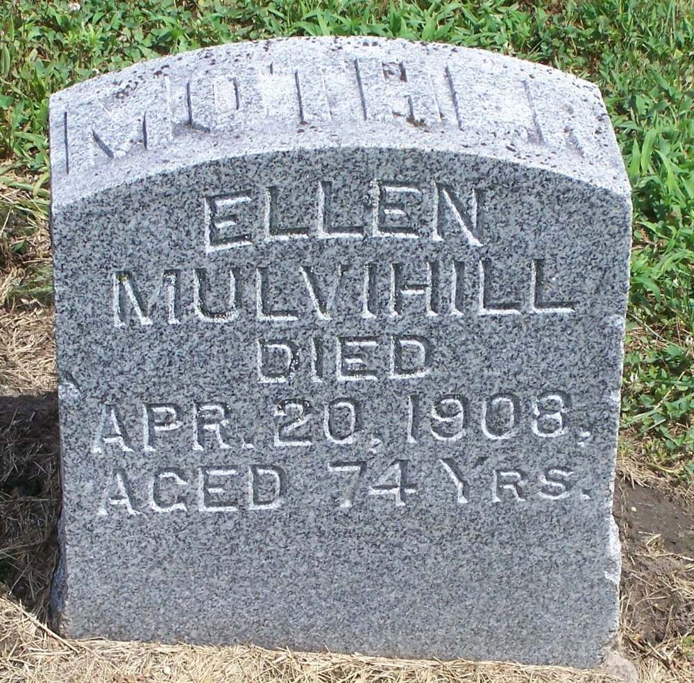 Gravestone of Ellen Wolfe Mulvihill at Saint James Cemetery, Toronto, Iowa (Christine Masterson / Find a Grave)