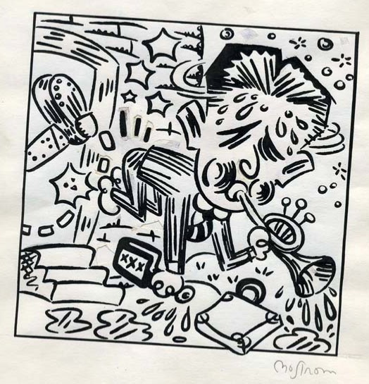 Bix Beiderbecke Gets the Boot  by Tony Mostrom (pen and India ink, 2000)