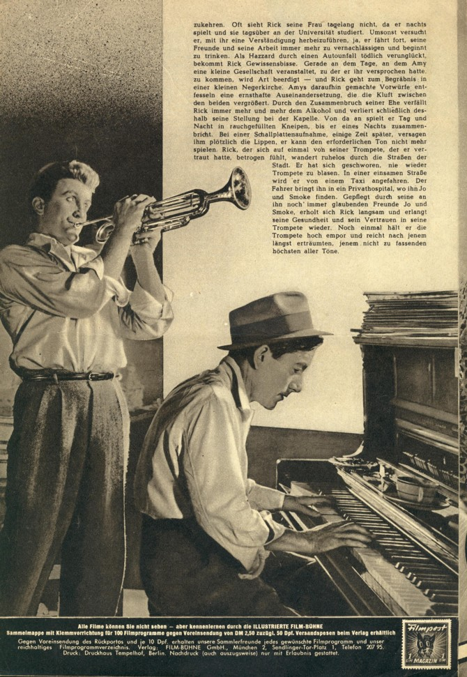 From a German magazine advertisement for Young Man with a Horn, featuring Kirk Douglas and Hoagy Carmichael