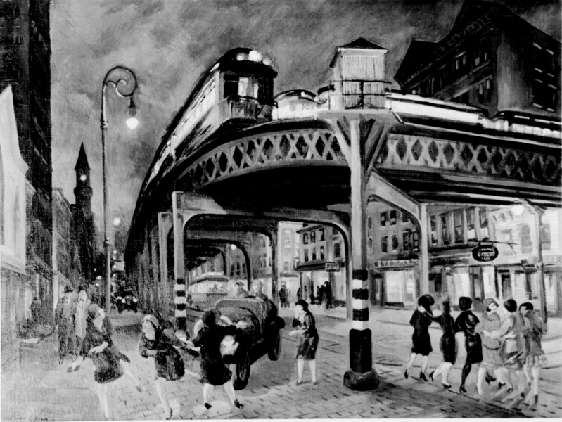 Sixth Avenue Elevated at Third Street (New York City) (oil, 1928; original in color) by John Sloan
