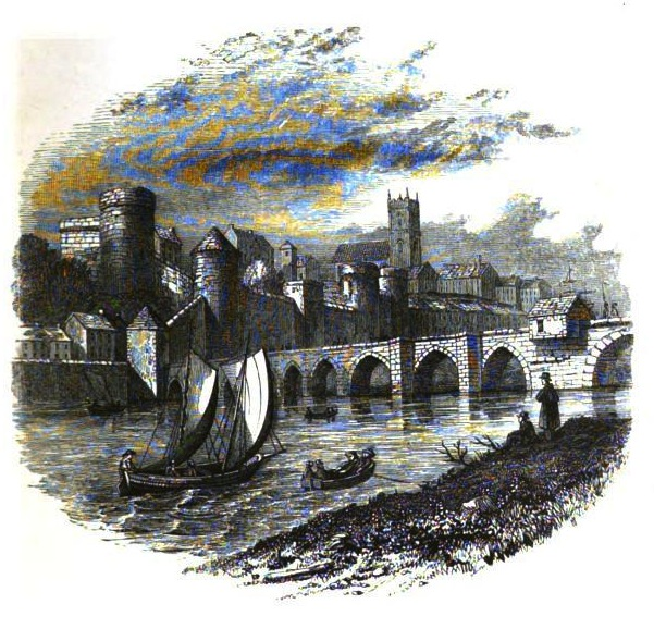 """Old Thomond Bridge, King John's Castle, and St. Mary's Castle,"" from  Limerick; Its History and Antiquities, Ecclesiastical Civil and Military  by Maurice Lenihan (1866)"