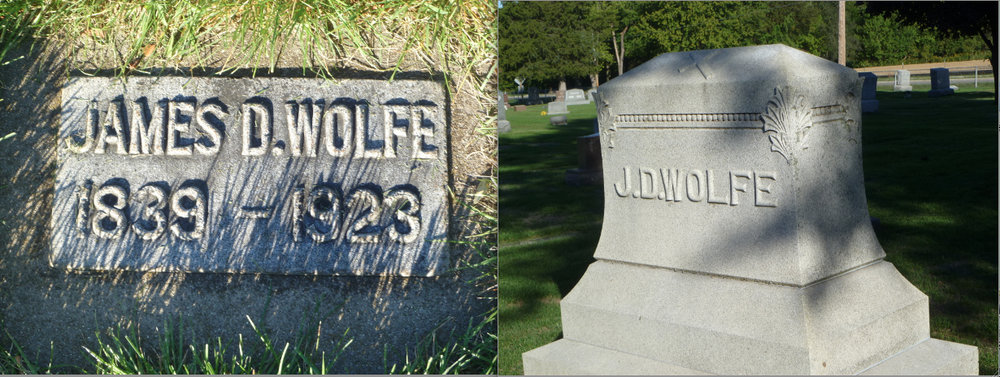 Gravestones of James Downey Wolfe at Saint Columba Cemetery in Ottawa, Illinois (Har27x / Find a Grave)