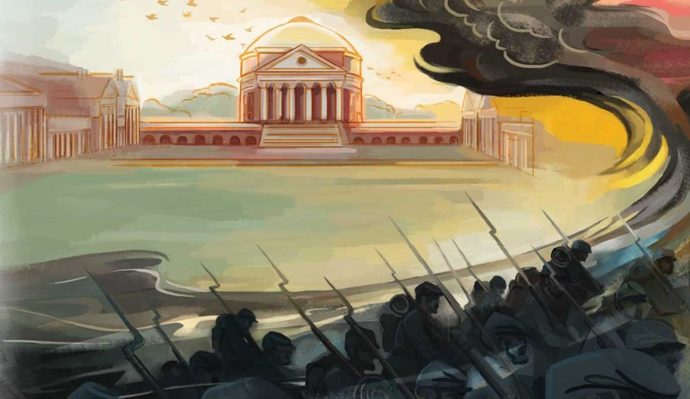Suling Wang's lovely cover art for my  University of Virginia Magazine  story on the Union occupation of Charlottesville.