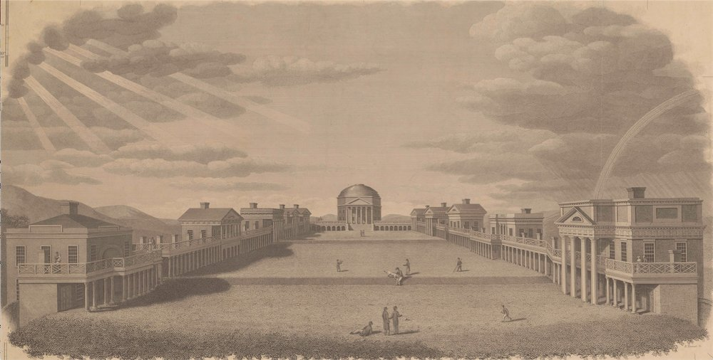 The Rotunda and Lawn at the University of Virginia, 1827, by the engraver B. Tanner (Courtesy of University of Virginia Special Collections)