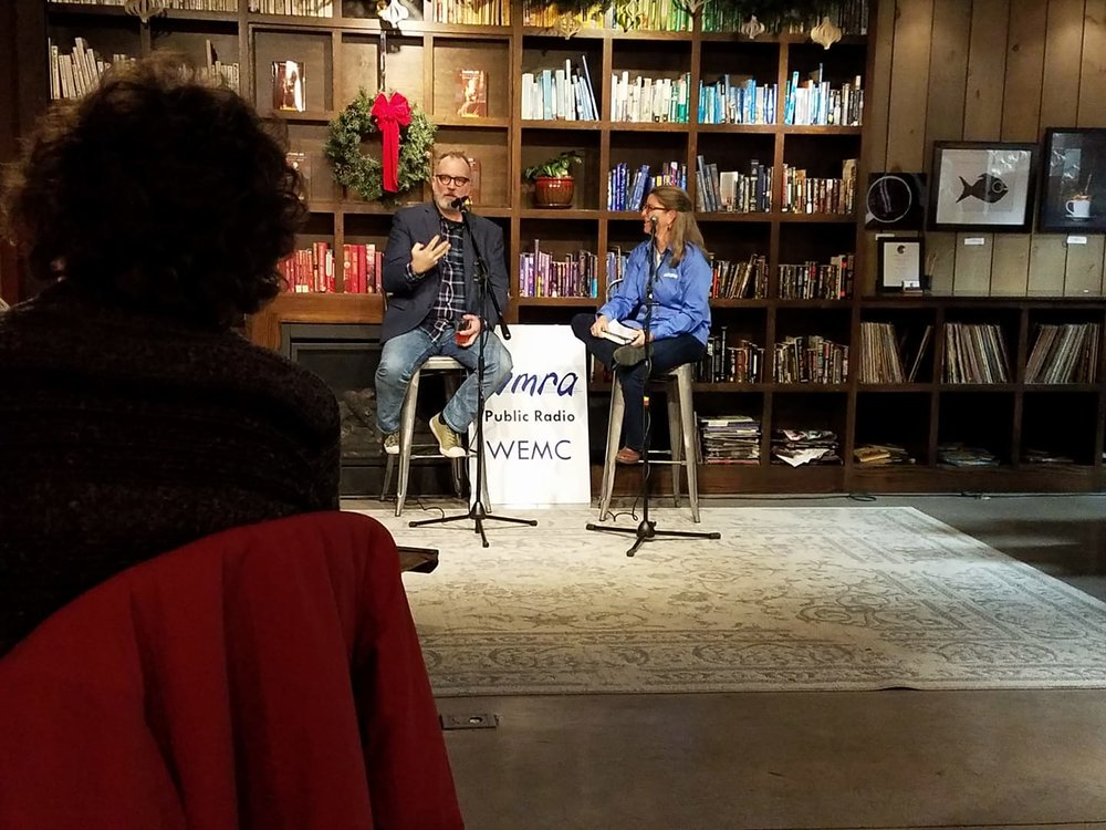 With Mary Katherine Froehlich at WMRA's Books & Brews, Pale Fire Brewing Company, Harrisonburg, December 12, 2017. (Photo by Lynda Meyers)