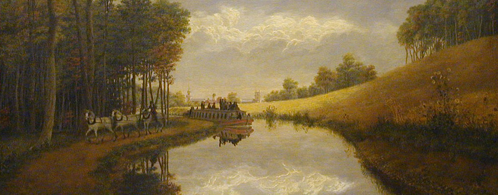 Detail from  Pittsford on the Erie Canal—a Sultry Calm  by George Harvey (1837; University of Rochester)