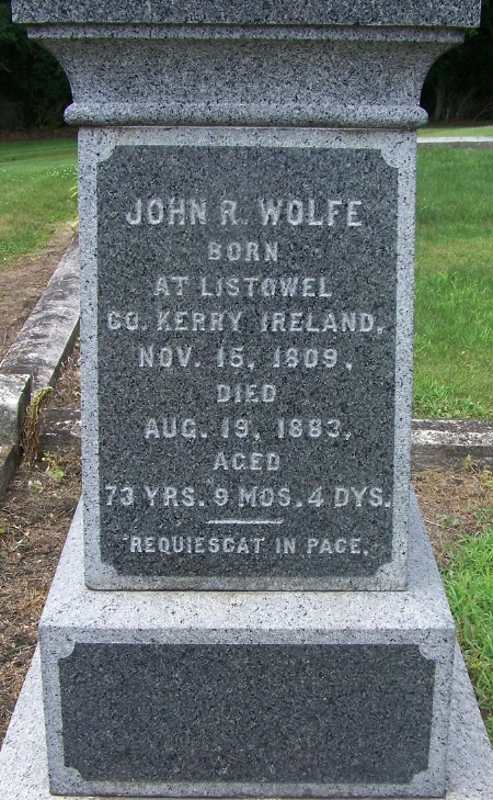 Gravestone of John R. Wolfe   at Saint James Cemetery, Toronto, Iowa (Christine Masterson / Find a Grave)