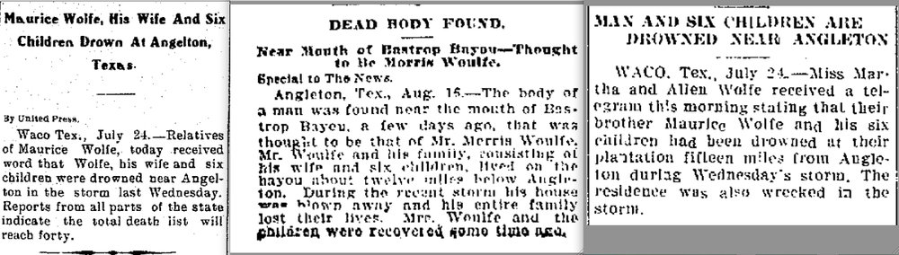 From the  Laredo Times , July 25, 1909, page 12; from the  Galveston Daily News , August 17, 1909, page 1; from the  Denton Record Chronicle , July 24, 1909, page 2 (NewspaperArchive.com)