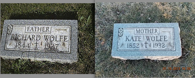 Gravestones of Richard J. Wolfe and Kate Maher Wolfe, at Lost Land Cemetery in LaSalle County, Illinois (Ann McClary / Find a Grave)