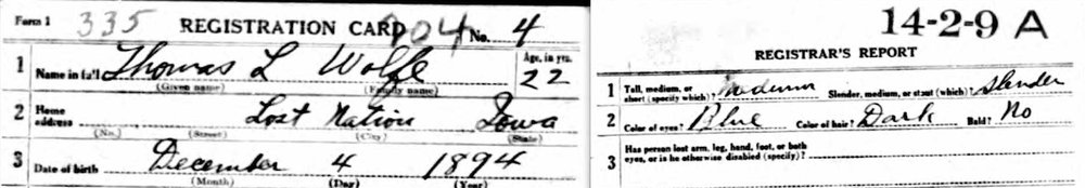 Detail from Thomas L. Wolfe's World War I draft registration card