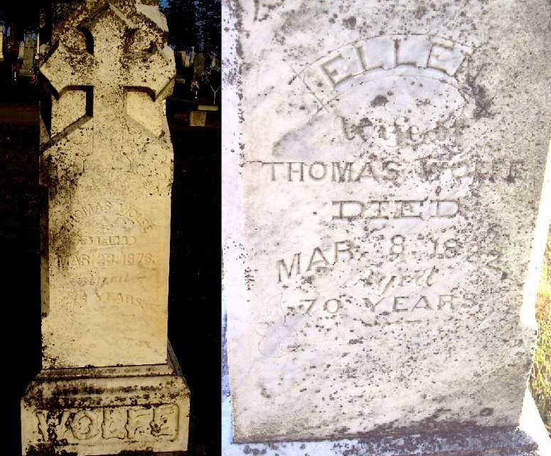 Gravestones of Thomas and Ellen Wolfe, Holy Angels Cemetery, Carroll County, Iowa (Geo. Clinton / Find a Grave)